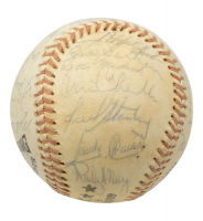 1975 Yankees Logo Baseball Team-Signed by (25) With Roy White, Sparky Lyle, Thurman Munson, Bobby Bonds (Beckett LOA) at PristineAuction.com