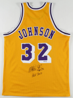"Magic Johnson Signed Jersey Inscribed ""HOF 2002"" (PSA Hologram) at PristineAuction.com"