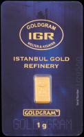 Certified Istanbul Gold Refinery (IGR) 999.9 Solid Gold 1 G Bar at PristineAuction.com