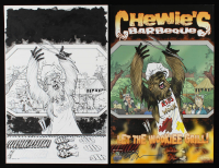 "Set of (2) Tom Hodges Signed ""Chewie's Barbecue"" 2015 Star Wars Celebration 11x17 ORIGINAL Artwork & Poster (PA COA) at PristineAuction.com"