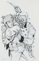 "Tom Hodges - Shooting Range Target ""WW2 Soldier vs. Nazi Zombie"" - Signed 11x17 ORIGINAL Artwork (PA COA) at PristineAuction.com"