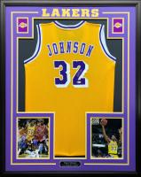 Magic Johnson Signed 34.5x42.5 Custom Framed Jersey (Beckett COA) at PristineAuction.com