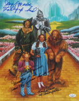 "Mickey Carroll, Jerry Maren & Karl Slover Signed ""The Wizard of Oz"" 11x14 Photo with (4) Character Inscriptions (JSA COA) at PristineAuction.com"