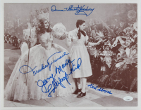 """The Wizard of Oz"" 11x14 Photo Cast-Signed by (4) with Karl Slover, Mickey Carroll, Jerry Maren & Donna Stewart-Hardway Inscribed ""Lollipop Kid"" (JSA COA) at PristineAuction.com"