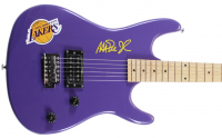 Magic Johnson Signed Lakers Logo Electric Guitar (Beckett COA) at PristineAuction.com