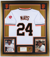 Willie Mays Signed San Francisco Giants 32x36 Custom Framed Cut with 1951 Rookie Of The Year Lapel Pin (PSA COA) at PristineAuction.com