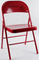 "Bobby Knight & Phil Bova Signed Red Metal Folding Chair Inscribed ""2-23-85"" (Beckett Hologram) at PristineAuction.com"