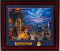 "Thomas Kinkade ""Beauty & The Beast"" 14x16 Custom Framed Print Display With Belle Pin at PristineAuction.com"