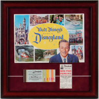 1960 Disneyland Souiviner Guide 16x16 Custom Framed Display with Vintage Parking Pass & Vintage Ticket Book at PristineAuction.com