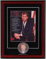 John F. Kennedy 14x18 Custom Framed Vintage 1960's Presidential Lithograph Display with Matching 1960's Kennedy Lapel Pin at PristineAuction.com
