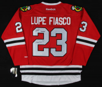 "Lupe Fiasco Signed Blackhawks Jersey Inscribed ""Chicago Love"" & ""Go Hawks"" (JSA COA) at PristineAuction.com"