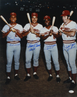 "Reds ""Big Red Machine"" 16x20 Photo Team-Signed by (4) with Tony Perez, Johnny Bench, Joe Morgan, & Pete Rose with (4) Inscriptions (JSA COA) at PristineAuction.com"