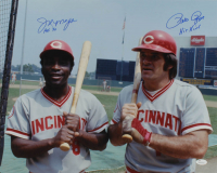 "Joe Morgan & Pete Rose Signed Reds 16x20 Photo Inscribed ""HOF 90"" & ""Hit King"" (JSA COA) at PristineAuction.com"