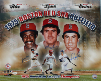 Jim Rice, Fred Lynn & Dwight Evans Signed 1975 Red Sox Outfield American League Champions 16x20 Photo (JSA COA) at PristineAuction.com