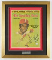 """Lou Brock Signed 17.5x20.5 Custom Framed Magazine Inscribed """"H.O.F. 85"""" (PSA COA) at PristineAuction.com"""