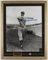 Ted Williams Signed Red Sox 19x24 Custom Framed Photo Display with Red Sox #9 Pin (PSA LOA & Williams Hologram) at PristineAuction.com