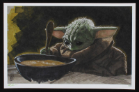 "Tom Hodges - Grogu with Soup ""Star Wars"" - Signed 11x17 LE Print LE #/25 (PA COA) at PristineAuction.com"