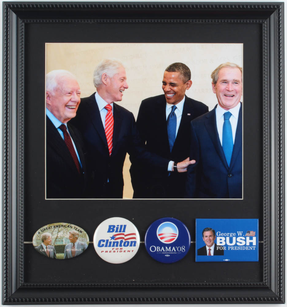 U.S. Presidents 14x15 Custom Framed Photo Display with (4) Campaign Pins at PristineAuction.com