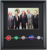 U.S. Presidents 14x15 Custom Framed Photo Display with (5) Vintage Campaign Pins at PristineAuction.com
