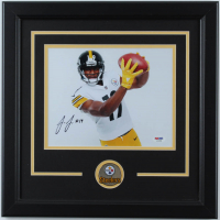 Juju Smith-Schuster Signed Steelers 16.5x16.5 Custom Framed Photo Display with Pin (PSA COA) at PristineAuction.com