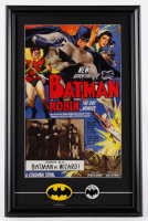 """New Adventures of Batman and Robin, the Boy Wonder"" 15x23 Custom Framed Print Display with Set of (2) Vintage Batman Fan Club Lapel Pins at PristineAuction.com"