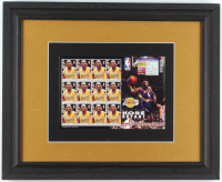 Kobe Bryant Lakers 13.25x16.25 Custom Framed Uncut Stamp Sheet Display at PristineAuction.com
