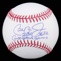 "Cal Ripken Jr. Signed OML Baseball Inscribed ""2131"" & ""2362 Consecutive Games"" (JSA COA) at PristineAuction.com"