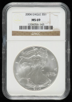 2004 American Silver Eagle $1 One Dollar Coin (NGC MS 69) at PristineAuction.com
