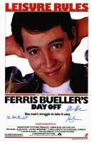 "Matthew Broderick, Mia Sara & Alan Ruck Cast-Signed ""Ferris Bueller's Day Off"" 11x17 Movie Poster Photo (Schwartz COA) at PristineAuction.com"