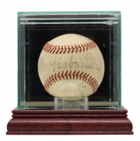 ONL Baseball Signed By (7) with Babe Ruth, Honus Wagner, Red Murray, Duffy Lewis, Walter Johnson, Eddie Collins & George Sisler with Display Case (PSA LOA) at PristineAuction.com