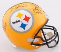 "Steelers Full-Size Throwback Helmet Signed By (6) With LC Greenwood, John Stallworth, ""Mean"" Joe Greene, Jack Ham, Donnie Shell & Andy Russell With Multiple Inscriptions (TriStar Hologram) at PristineAuction.com"