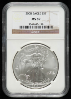 2008 American Silver Eagle $1 One Dollar Coin (NGC MS 69) at PristineAuction.com