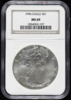 1996 American Silver Eagle $1 One Dollar Coin (NGC MS69) at PristineAuction.com