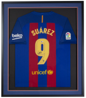 Luis Suarez Signed FC Barcelona 32x36 Custom Framed Jersey (Beckett COA) at PristineAuction.com