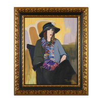 "Itzhak Tarkay Signed ""Black Hat"" 32x38 Custom Framed Original Acrylic Painting on Canvas at PristineAuction.com"