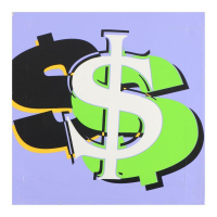 "Steve Kaufman Signed ""Dollar Sign"" Limited Edition 24x24 Hand Pulled Silkscreen on Canvas #34/50 at PristineAuction.com"