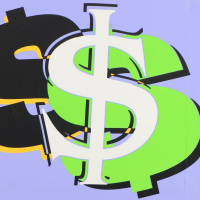 """Steve Kaufman Signed """"Dollar Sign"""" Limited Edition 24x24 Hand Pulled Silkscreen on Canvas #34/50 at PristineAuction.com"""