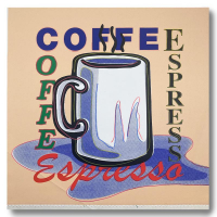 """Steve Kaufman Signed """"ESPRESSO"""" Limited Edition 26x25 Hand Pulled Silkscreen Mixed Media on Canvas at PristineAuction.com"""