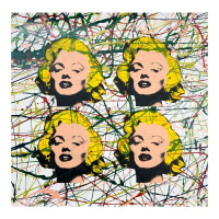 "Steve Kaufman Signed ""Four Marilyns State 2"" Limited Edition 17x17 Hand Pulled Silkscreen Mixed Media on Canvas at PristineAuction.com"