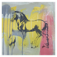 """Gail Rodgers Signed """"Leonardo's Horse"""" 23x23 Original Hand Pulled Silkscreen Mixed Media on Canvas at PristineAuction.com"""
