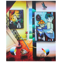 "Ferjo Signed ""Picassso and Fruit"" 24x20 Original Painting on Canvas at PristineAuction.com"