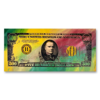 """Steve Kaufman Signed """"$500 Dollar Bill"""" Limited Edition 17x37 Hand Pulled Silkscreen Mixed Media on Canvas at PristineAuction.com"""