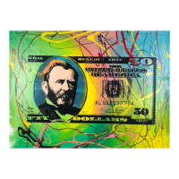 """Steve Kaufman Signed """"Half Grant"""" Limited Edition 17x22 Hand Pulled Silkscreen Mixed Media on Canvas at PristineAuction.com"""