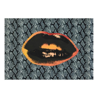 """Steve Kaufman Signed """"Lips"""" Hand Painted Limited Edition 24x16 Silkscreen on Canvas with Python Pattern Fabric Background AP #9/50 at PristineAuction.com"""