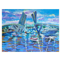 """Yana Rafael Signed """"Busy Waterway"""" 30x40 Original Painting on Canvas at PristineAuction.com"""