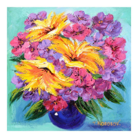 "Yana Korobov Signed ""Memories"" 20x20 Original Acrylic Painting on Canvas at PristineAuction.com"