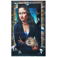 "Ferjo Signed ""Mona Lisa with Dog"" 60x40 Original Painting on Canvas at PristineAuction.com"