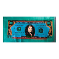 """Steve Kaufman Signed """"100 Dollar Old Ben Bill"""" Limited Edition 20x43 Hand Pulled Silkscreen Mixed Media on Canvas at PristineAuction.com"""