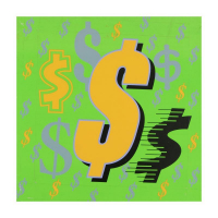 """Steve Kaufman Signed """"Dollar Sign"""" Limited Edition 24x24 Hand Pulled Silkscreen on Canvas #24/50 at PristineAuction.com"""