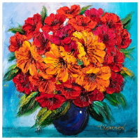 """Yana Korobov Signed """"Flowers in Blue Vase"""" 24x24 Original Acrylic Painting on Canvas at PristineAuction.com"""